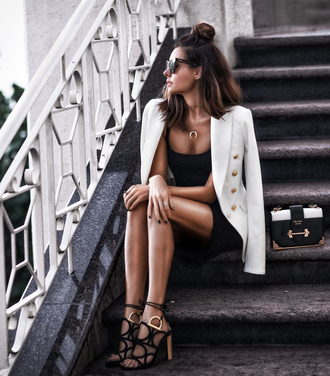 fashionedchic blogger jacket dress shoes bag jewels sunglasses blazer white blazer sandals prada bag black dress