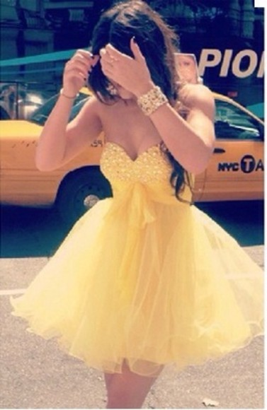 dress yellow dress rhinestones short prom dress poofy