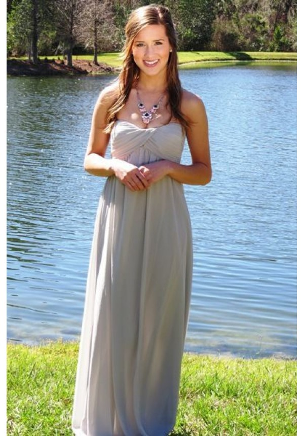 Grecian Gray Dress- Exclusively E's! Fully lined- floor sweeping strapless maxi