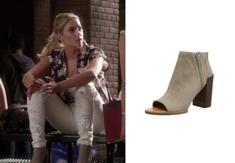 hanna marin ashley benson floral shirt pretty little liars ripped jeans peep toe boots