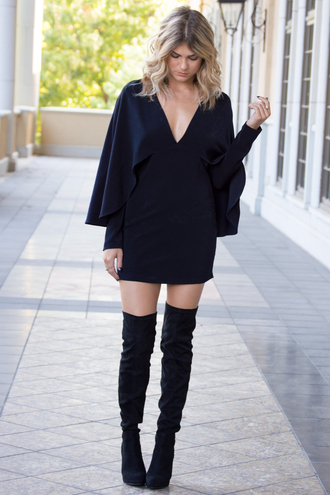 dress black dress cute dress sexy dress fall outfits fall dress boots ootd fashion style trendy trendsetter fashionista holiday dress love long sleeves long sleeve dress