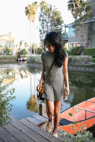 dress reformation reformation dress checkered dress checkered mini dress flare dress short dress spring dress sneakers nude sneakers brown bag bag crossbody bag lust for life blogger