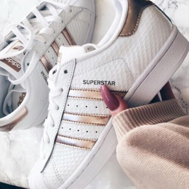 Adidas Weheartit Superstars Rose Gold Tumblr Shoes Adidas Tustwd