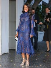 dress,midi dress,gown,lace dress,blue,blue dress,sandals,Aja Naomi King,see through dress
