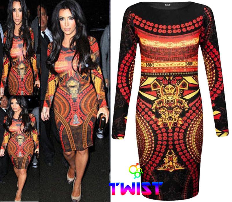 Ladies Celeb Kim Kardashian Aztec Print Womens Bodycon Mini MIDI Party Dress | eBay