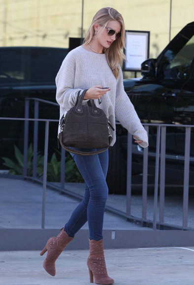 bag pants jeans shoes rosie huntington-whiteley sweater boots fall outfits