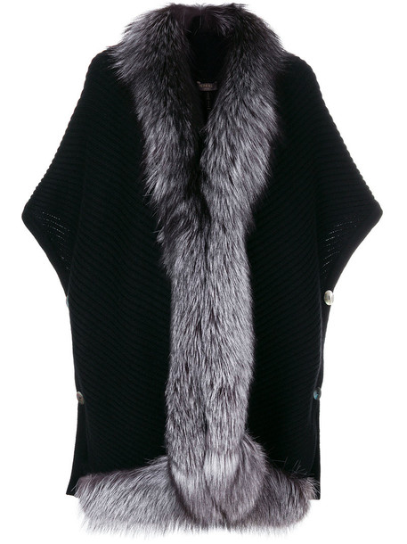 N.Peal cape fur fox women black top
