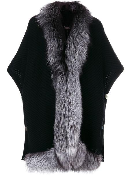 cape fur fox women black top