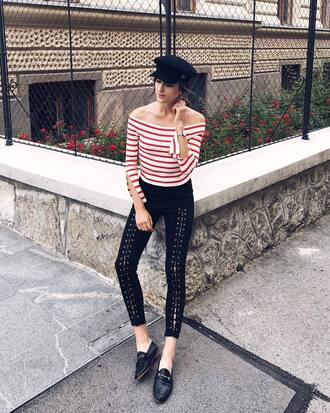top tumblr off the shoulder off the shoulder top red top stripes striped top pants lace up shoes loafers black loafers