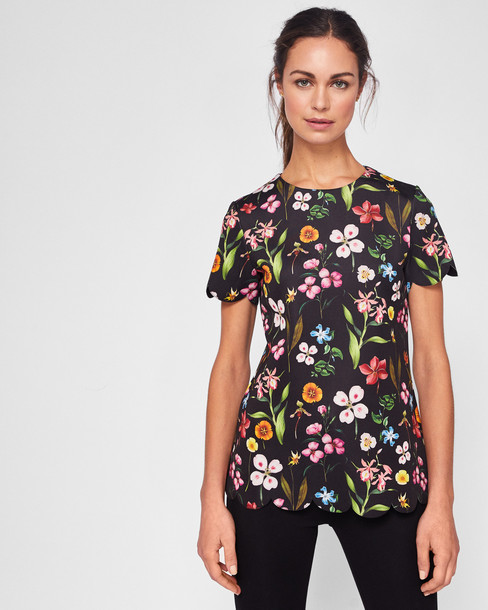 Ted Baker top scalloped black