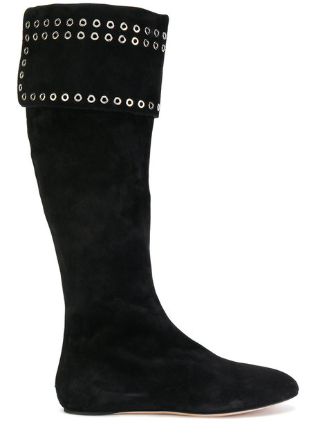 Alexander Mcqueen high women knee high embellished knee high boots leather suede black shoes