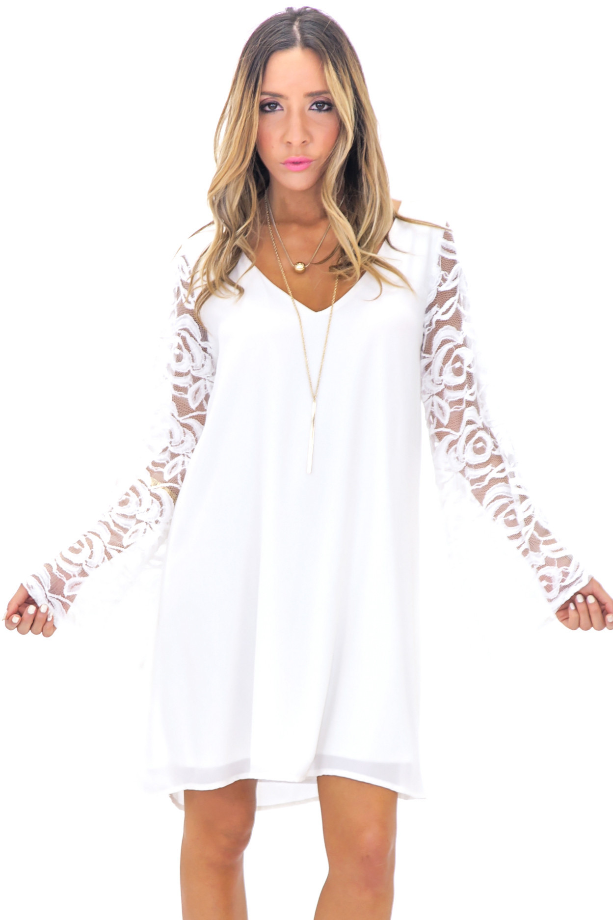 Willow lace bell sleeve dress
