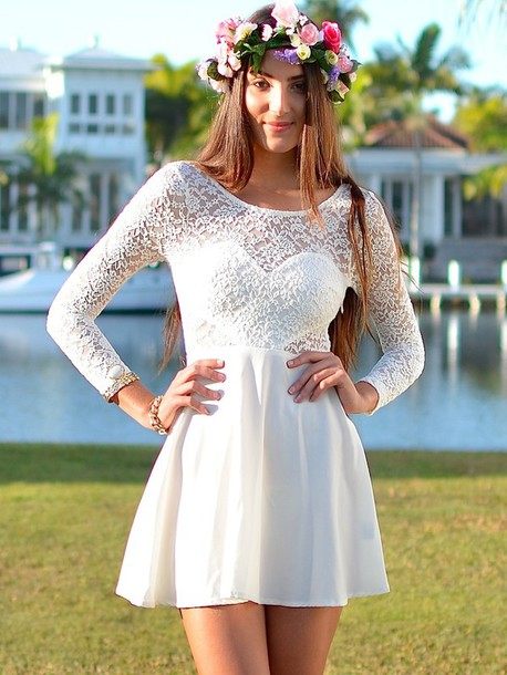 outdoor wedding, cute dress lace white, lace dress, lace, skater ...