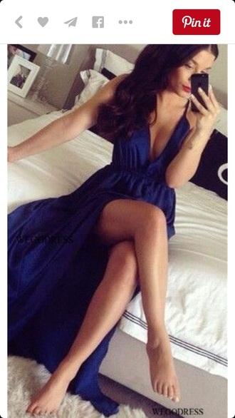 dress blue dress maxi dress slit dress long dress long prom dress navy pretty fashion style