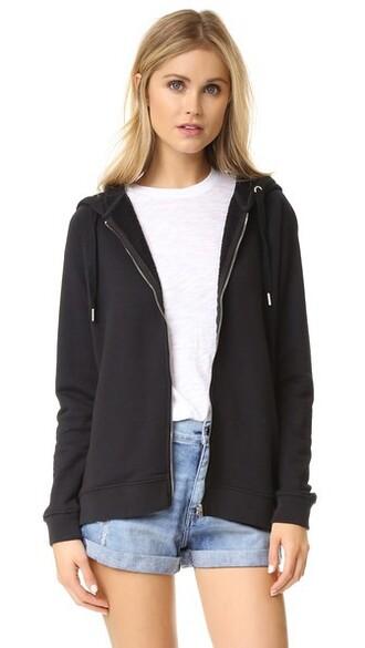 hoodie zip black sweater