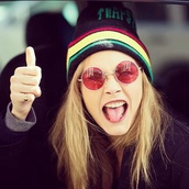 hat,red,yellow,green,cara delevingne