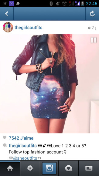 skirt galaxy skirt tights blue skirt leather black perfecto black t-shirt