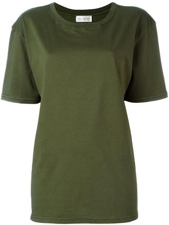 t-shirt shirt boyfriend fit green top