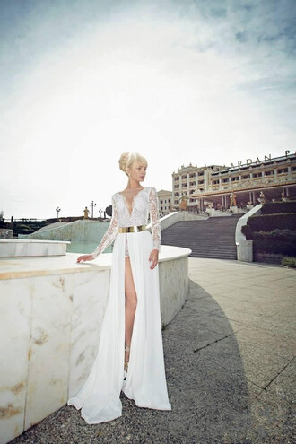 dress sheer long sleeves white dress deep v neck lace top wedding dress chiffon skirt