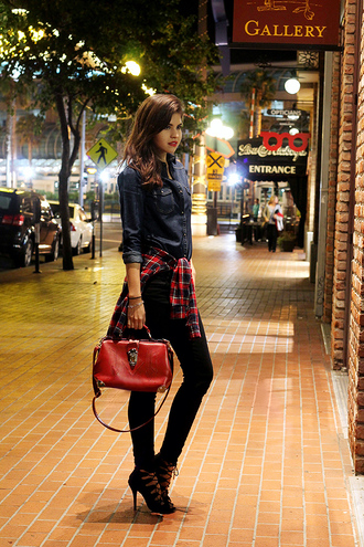 fake leather shirt jeans bag shoes