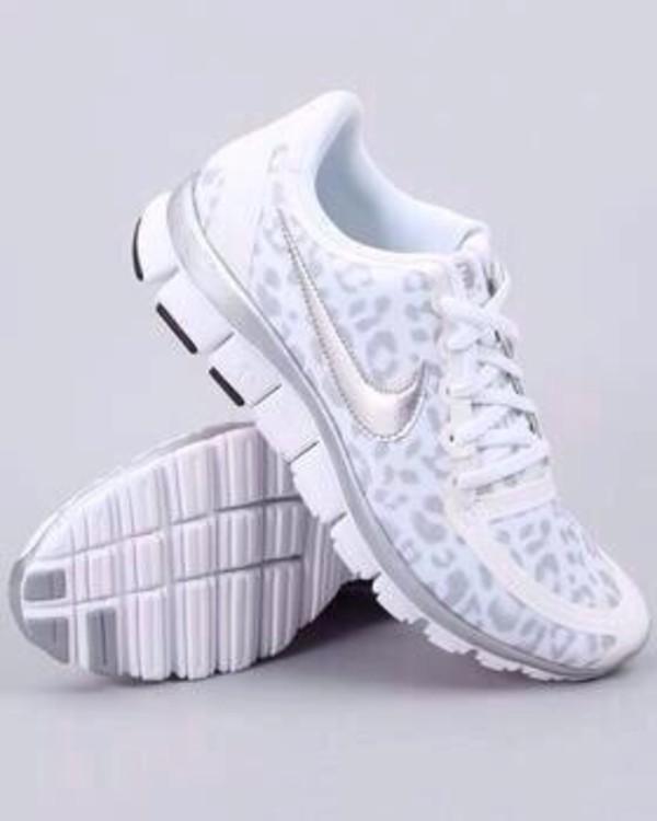 shoes white grey nike sneakers nike sneakers custom lepoard print leopard print nikes