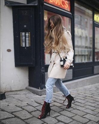 coat nude coat trench coat jeans denim blue jeans heel high heels peep toe heels lace up