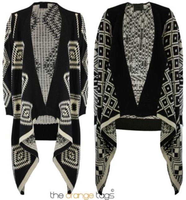 sweater sleeve waterfall open long sleeve waterfall aztec aztec knitted cardigan poncho black and white mexico latin america
