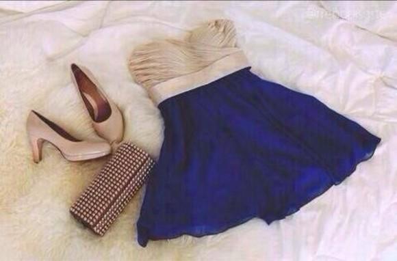 blue dress blue skirt beige dress skater dress skater ruffle bandeau top beige creme dress folds chiffon dress skater skirt
