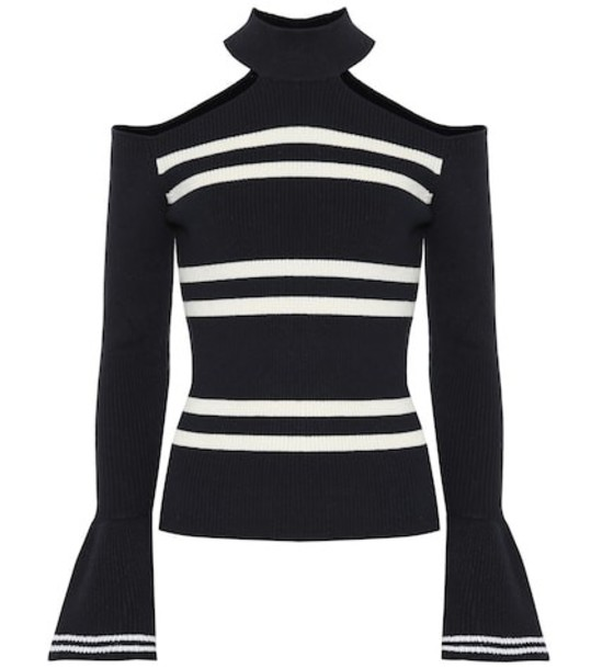 Self-Portrait Striped cotton and wool sweater in blue