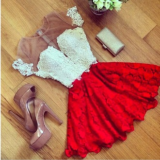 dress white sheer red skirt floral lace dress red lace bottom white lace top lace dress