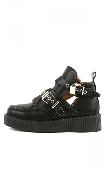 Wild Diva Credence-11 Black Buckle Creepers | MakeMeChic.com