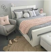 home accessory,bedding,pillow,duvets,painting,pink,grey,white,chair,blanket,flowers