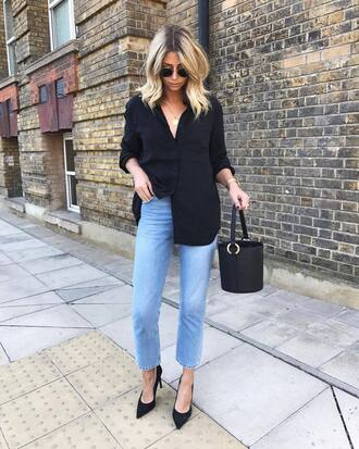 shirt sunglasses tumblr black shirt denim jeans blue jeans bag black bag handbag pumps pointed toe pumps high heel pumps shoes