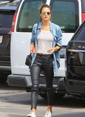 shirt,denim shirt,spring outfits,pants,top,alessandra ambrosio,model off-duty,streetstyle,casual