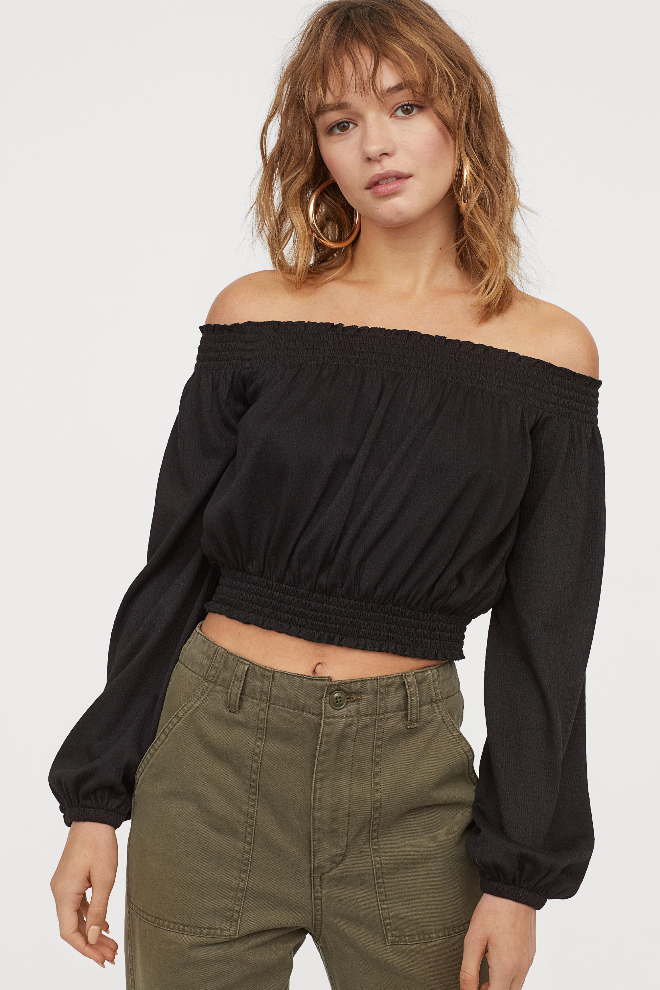 Off-the-shoulder Top - Black - Ladies | H&M US