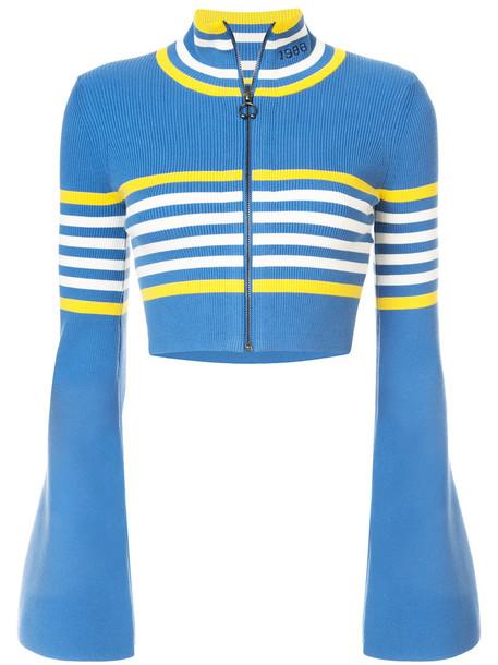Fenty X Puma - cropped zipped sweater - women - Cotton/Nylon/Spandex/Elastane - S, Blue, Cotton/Nylon/Spandex/Elastane