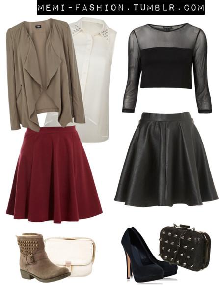 skirt top black skater skirt blouse bag shoes memi-fashion.tumblr.com cardigan black sheer crop top white blouse black clutch white clutch red skater skirt