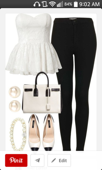 black pants t-shirt white shirt flats