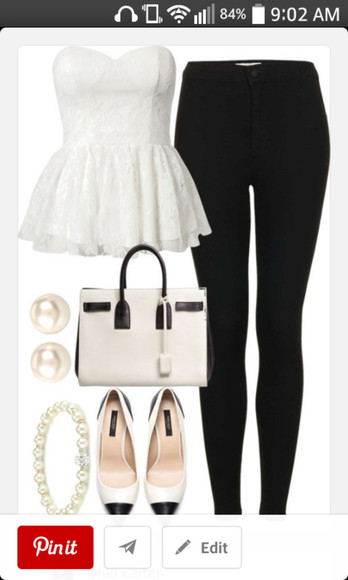 black pants t-shirt white shirt flats shoes
