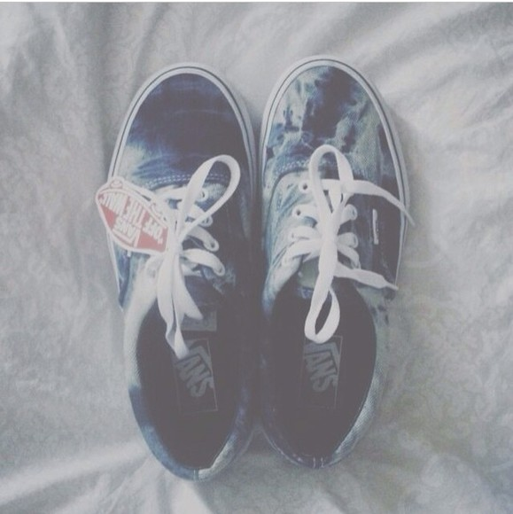 shoes vans vans sneakers sneakers tye dye blue