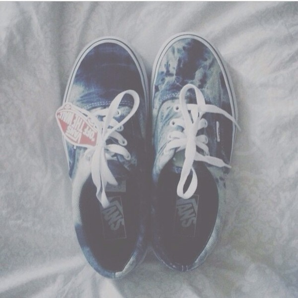 shoes vans sneakers vans tie dye blue