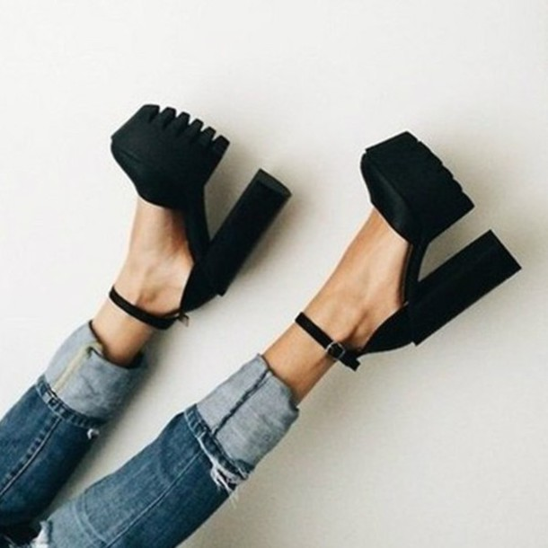 shoes chunky chunky heels chunky shoes heels platform shoes platform shoes black black heels black shoes