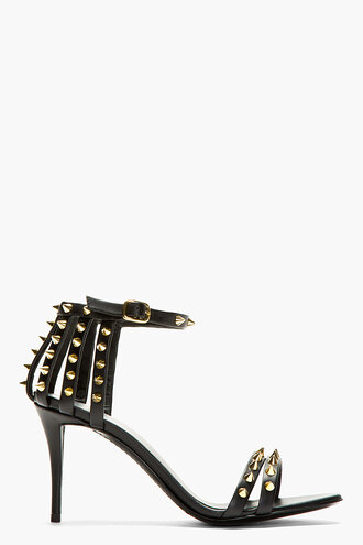 coline leather shoes black high heels women studs