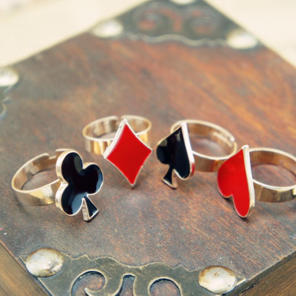 Spade/heart/diamond/club ring set of 4