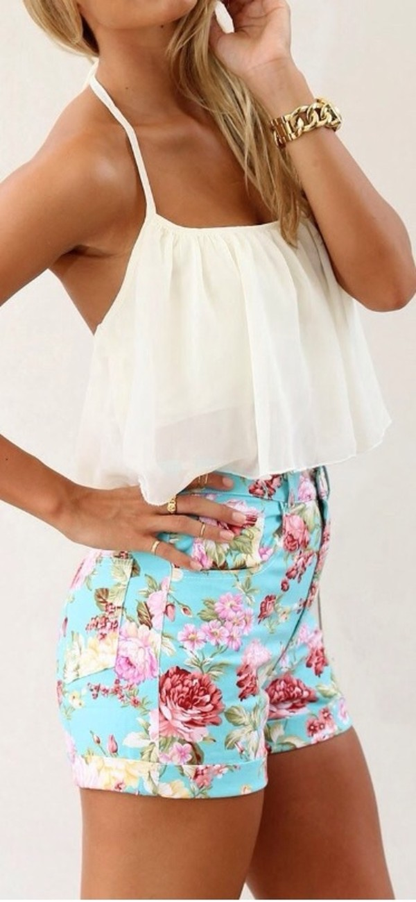 shorts shirt blouse white crop tops flowered shorts High waisted shorts