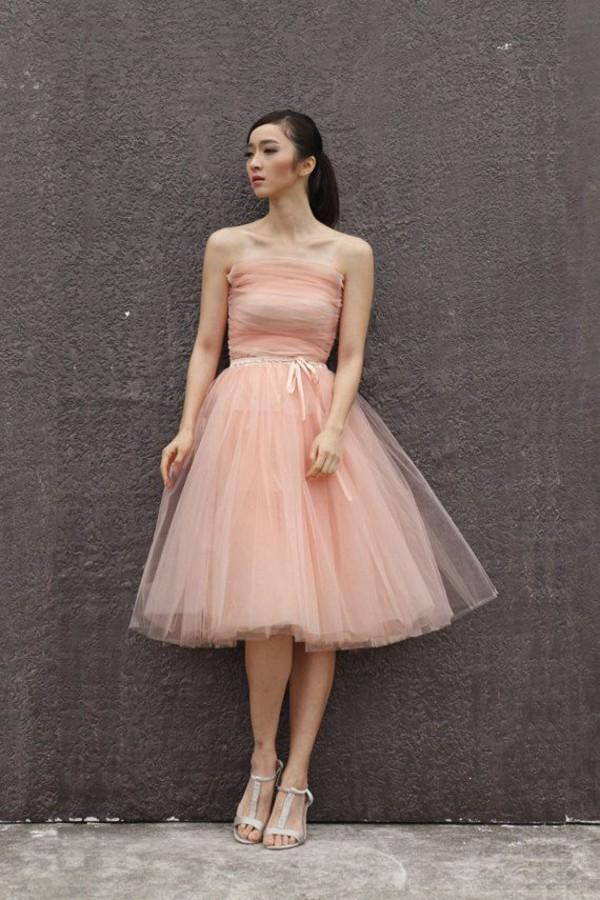 Light pink tulle tutu skirt evening wedding party gowns for Tulle skirt under wedding dress
