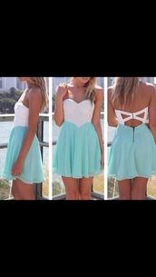 white top,blue skirt,criss cross,sweetheart dress