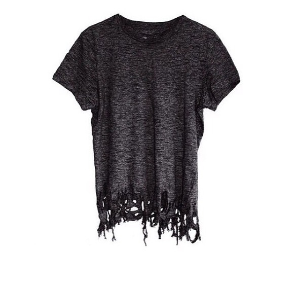 distressed ripped shirt charcoal black