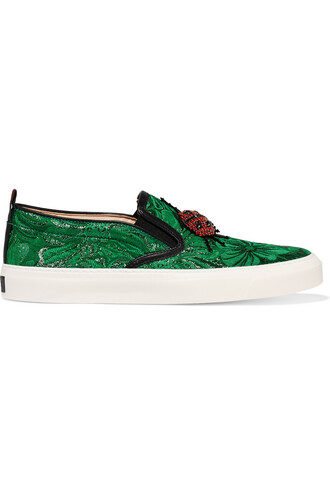 embellished sneakers metallic green shoes