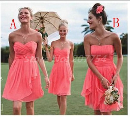 Aliexpress.com : Buy Strapless Coral Bridesmaids Dresses Pleat Cheap Bridesmaids Dress Short  Wedding Party Dress 2014 New Bridesmaid Dress from Reliable dress up black dress suppliers on Beauty Ease Fashion Store